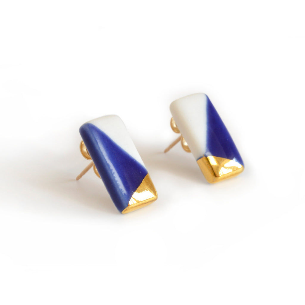 tiny rectangle studs in blue and gold - ASH Jewelry Studio - 1