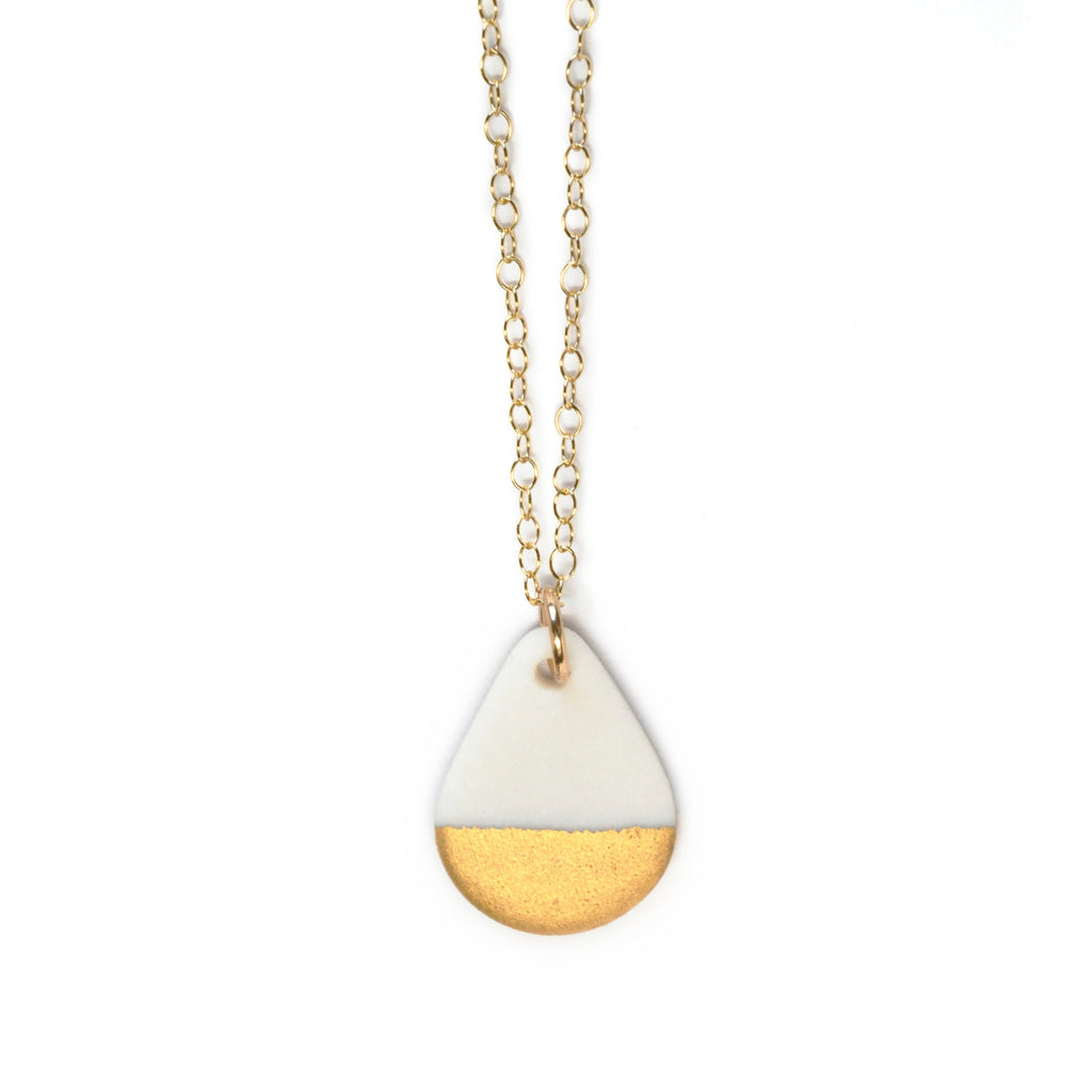 drop necklace in matte gold - ASH Jewelry Studio - 1