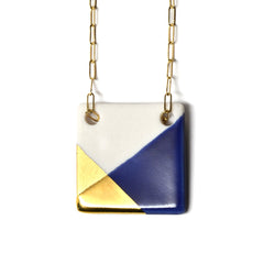 blue and gold square necklace - ASH Jewelry Studio - 2