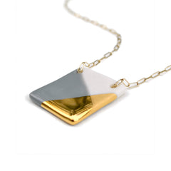 gray and gold square necklace - ASH Jewelry Studio - 2