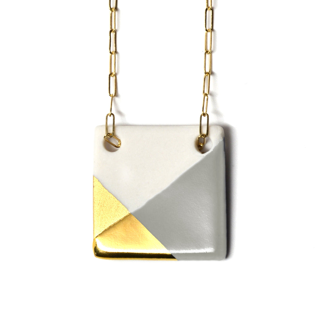 gray and gold square necklace - ASH Jewelry Studio - 1