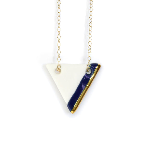 triangle necklace in royal blue