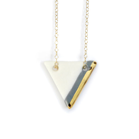 gray triangle necklace