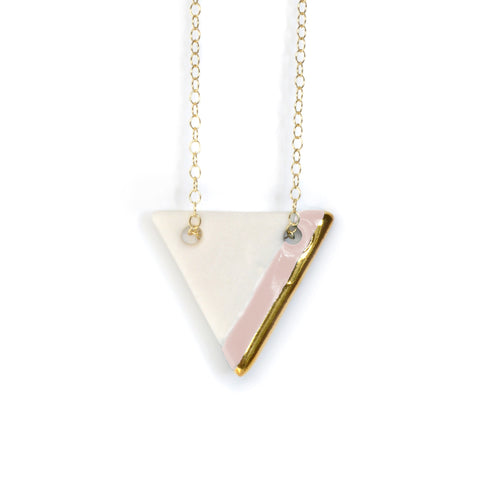 triangle necklace in pink