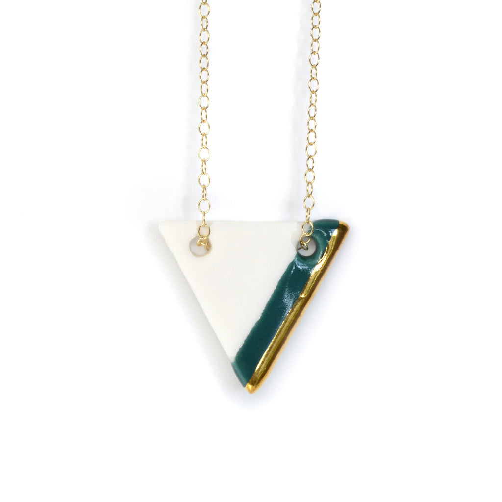 teal triangle necklace - ASH Jewelry Studio - 1
