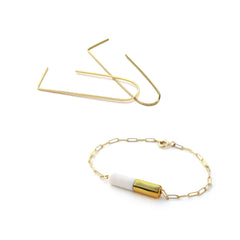 oblong earrings, pipeline bracelet set - ASH Jewelry Studio - 2