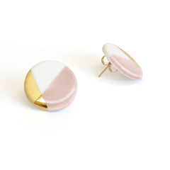 blush pink modern circle studs - ASH Jewelry Studio - 2
