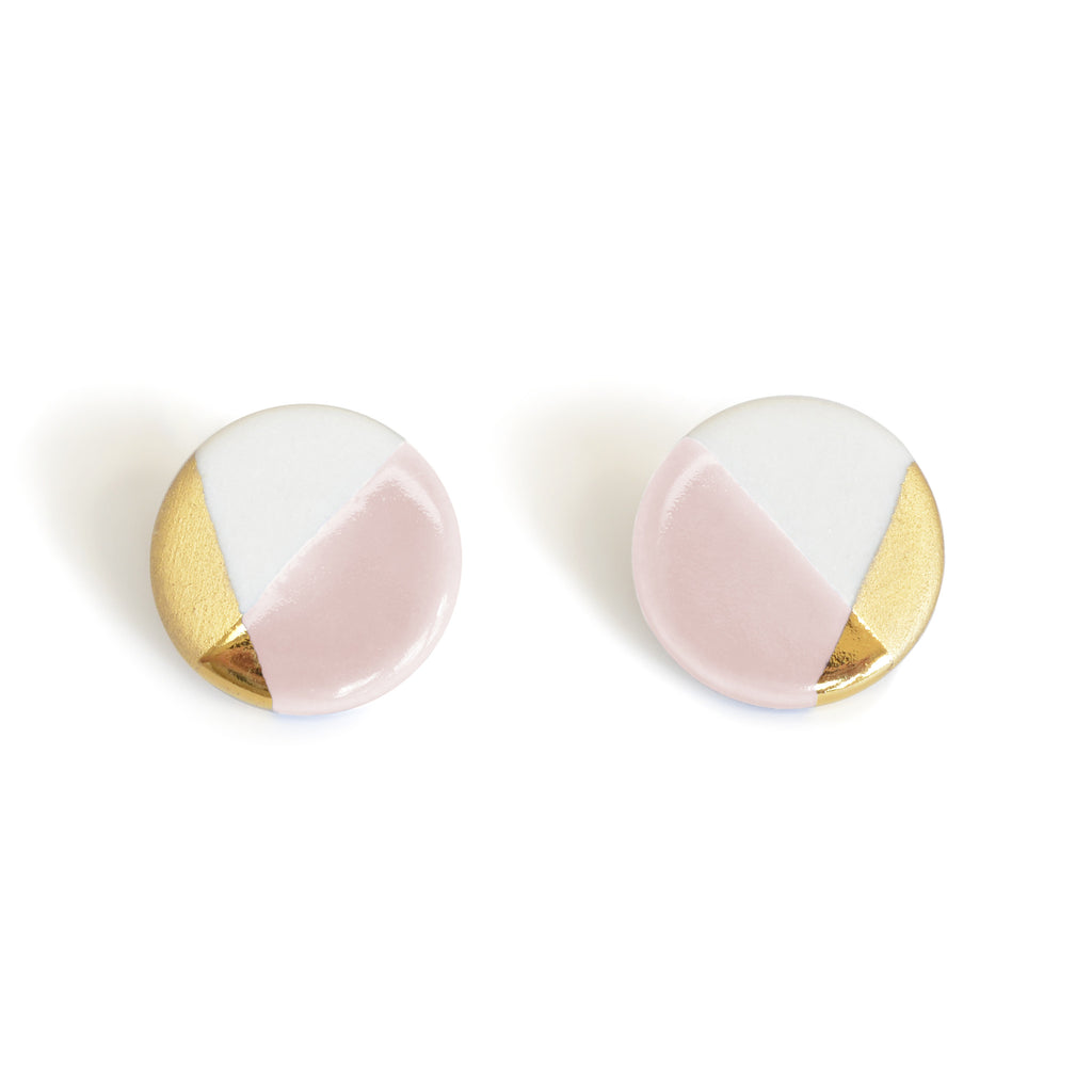 blush pink modern circle studs - ASH Jewelry Studio - 1