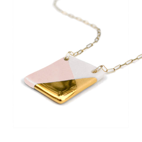 square necklace in pink and gold