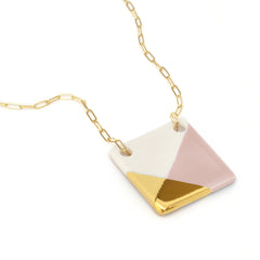 square necklace in pink and gold - ASH Jewelry Studio - 3