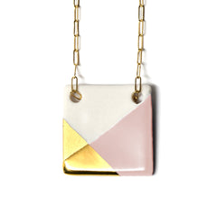 square necklace in pink and gold - ASH Jewelry Studio - 2
