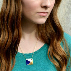 blue and gold square necklace - ASH Jewelry Studio - 3