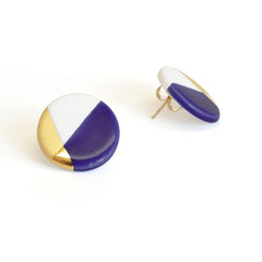 modern circle studs in blue - ASH Jewelry Studio - 2