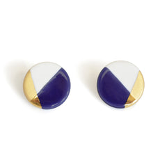 modern circle studs in blue - ASH Jewelry Studio - 1