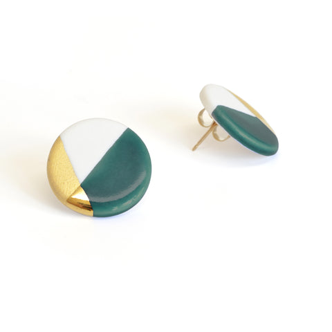 modern circle studs in teal