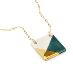 square necklace in teal and gold - ASH Jewelry Studio - 2