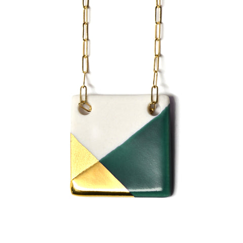 square necklace in teal and gold