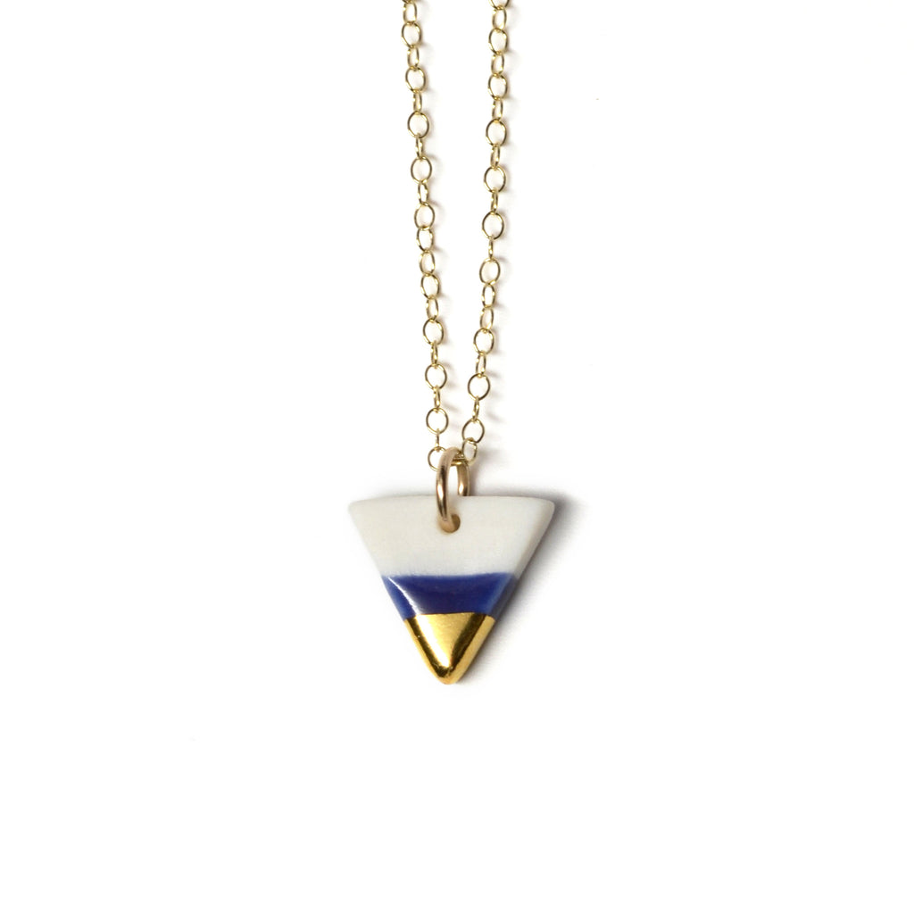 tiny royal blue triangle necklace - ASH Jewelry Studio - 1