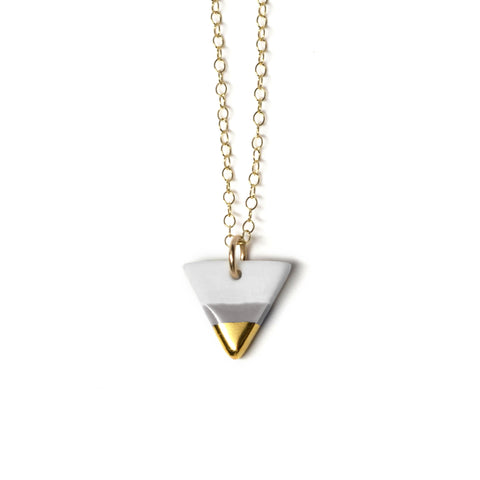 tiny gray triangle necklace