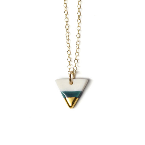 tiny triangle necklace in teal