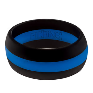 Men's Silicone Wedding Ring - Thin Blue Line - Not just a rubber ring! - Law Enforcement Officers