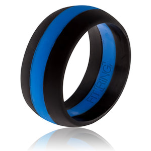 Men's Silicone Wedding Band - Thin Blue Line - Official Silicone Ring for Athletes - police officers