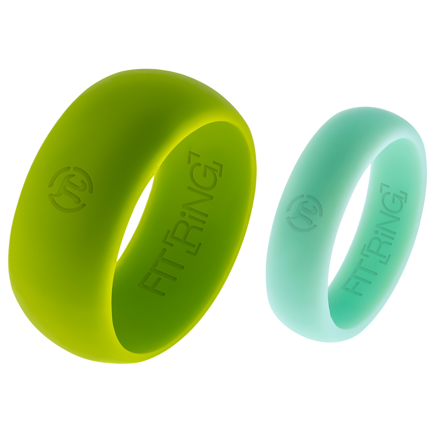 Men's Borealis Green & Women's Aurora Blue Fit Ring Set