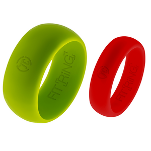 Men's Borealis Green & Women's Lava Red Fit Ring Set
