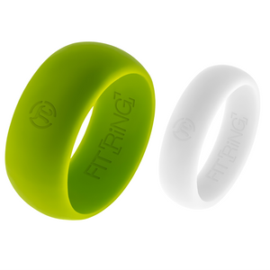 Men's Borealis Green & Women's Alpine White Fit Ring Set