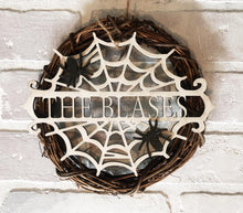 Load image into Gallery viewer, Personalized Pumpkin and Cobweb Sign