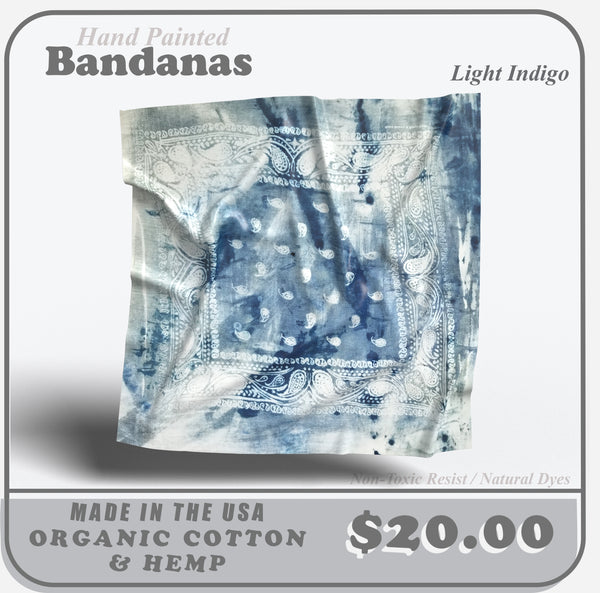 Hand Painted Bandana (Light Indigo)