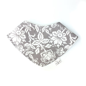 Bandana Bib - Drool bib for teething babies, cotton velour backing, floral cotton front