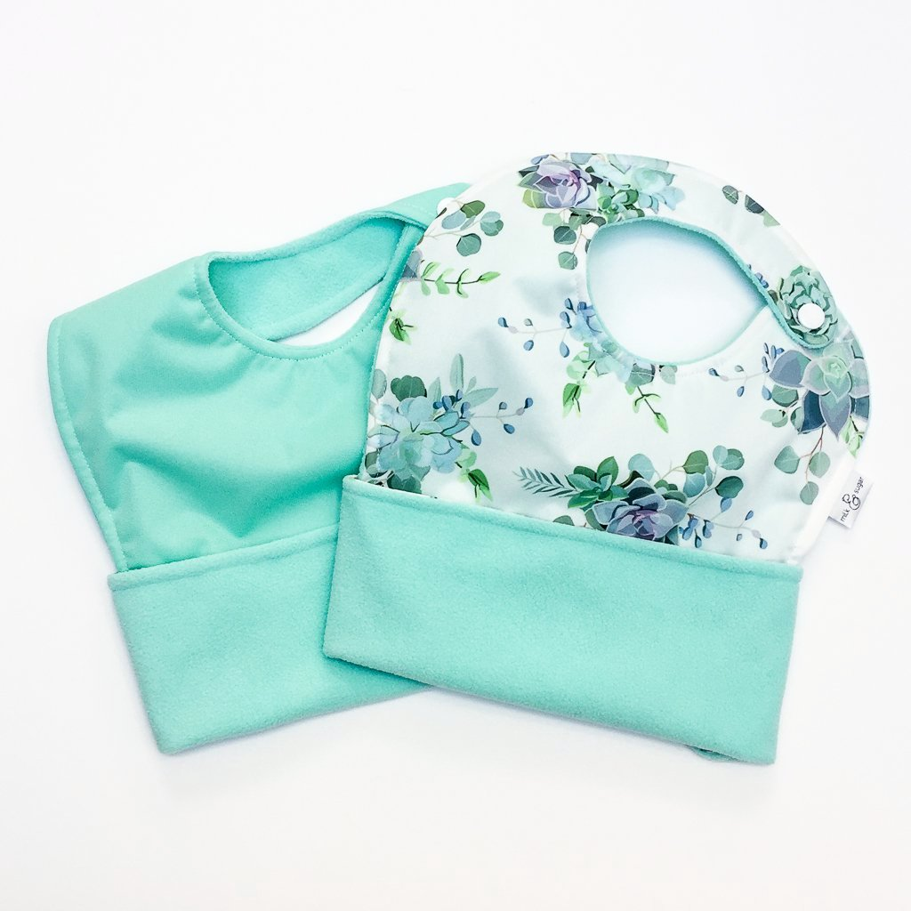 The Ultimate Meal Bibs | Sweet Succulents & Mint (2 Pack)