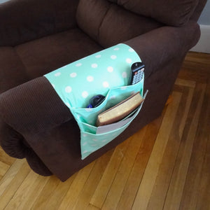 Armchair & Sofa Hanging Organizer - Mint with White Dots