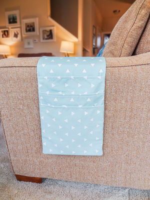 Armchair & Sofa Hanging Organizer - Canal Blue with Triangles