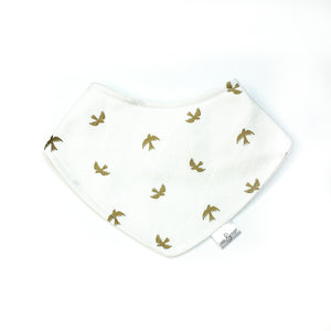 Bandana Bib - Metallic Gold Birds