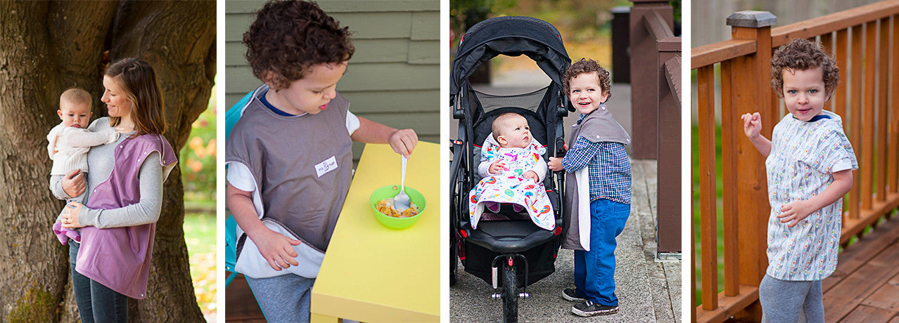 The ONEder Cover all-in-one nursing cover converts to a bib, burp cloth, stroller blanket and more!
