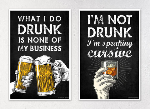"Alcohol Drinking Posters - Set of Two 12""x18"" Posters"