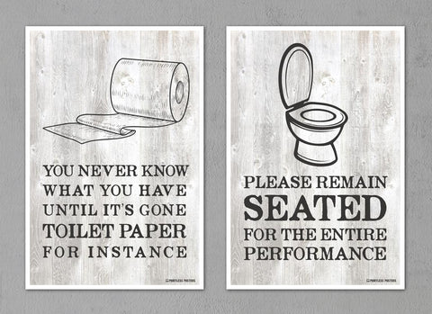 "Bathroom Decor Posters - Set of Two 12""x18"" Posters"