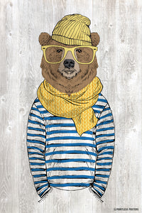 Bear In A Scarf And Hat Anthropomorphic Animal Poster