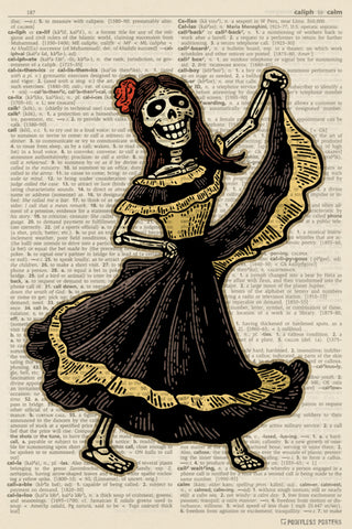 Day Of The Dead Dancer (dictionary background) Poster