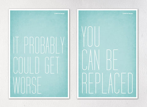 "Demotivational Office Posters - Set of Two 12""x18"" Posters"