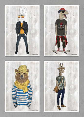 "Dressed Up Animals Posters - Set of Four 12""x18"" Posters"