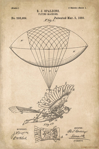 Vintage Flying Machine Patent Art Poster