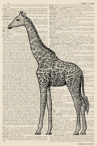Giraffe Illustration (dictionary background) Poster