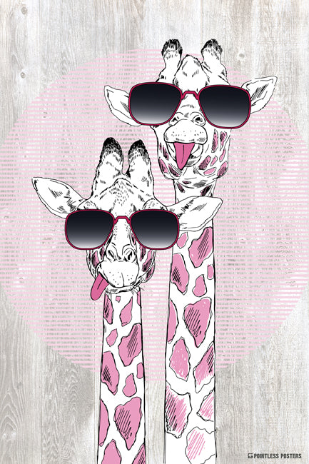 Giraffes With Sunglasses Poster