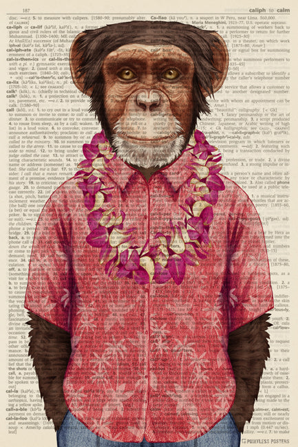 Hawaiian Monkey Anthropomorphic Animal (dictionary background) Poster