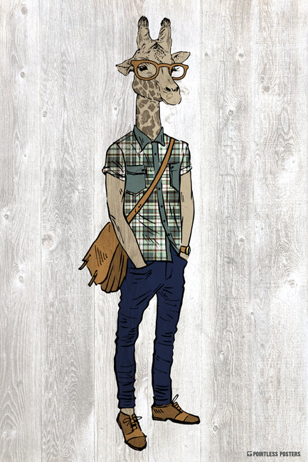 Hipster Giraffe Anthropomorphic Animal Poster