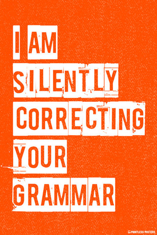 I Am Silently Correcting Your Grammar Poster