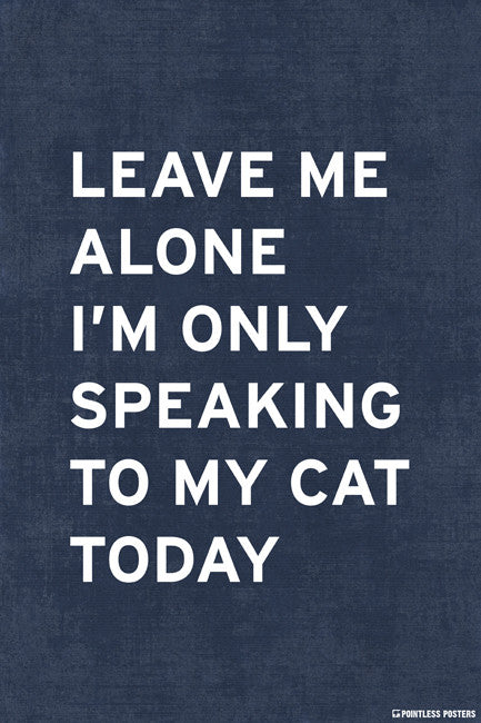 Leave Me Alone, Ií´m Only Speaking To My Cat Today Poster